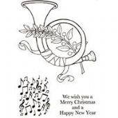Woodware - Christmas Horn - Clear Magic Stamp Set - JGS467